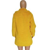 Yellow Loose fur coat