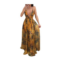 Orange Deep V-neck open-back chiffon dress