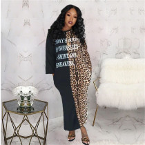 Fashion Casual Long Sleeve Leopard Letter Position Print Dress