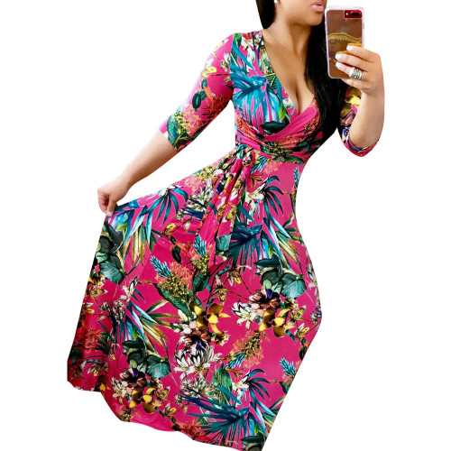 Red V-neck fine print plus size dress