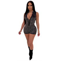 Black Sleeveless hot brick casual jumpsuit casual nightclub outfit