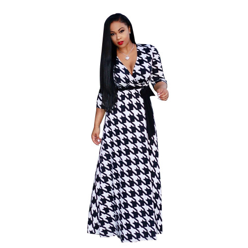 Black plaid V-neck fine print plus size dress