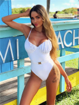 White Women's one-piece swimsuit