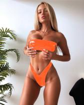 Orange Bright Leather Bikini Top