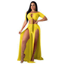 Yellow Sexy two-piece suit