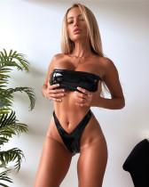 Black Bright Leather Bikini Top