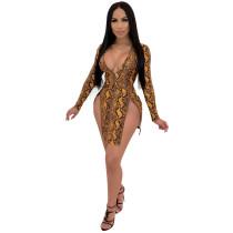 Euro-American Hot Sale Women's Long Sleeve V-neck Sexy Split Mini Dress