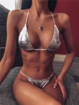 Silver Solid color brooch ladies split bikini