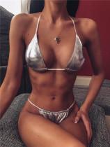 Silver Solid color brooch ladies split bikini