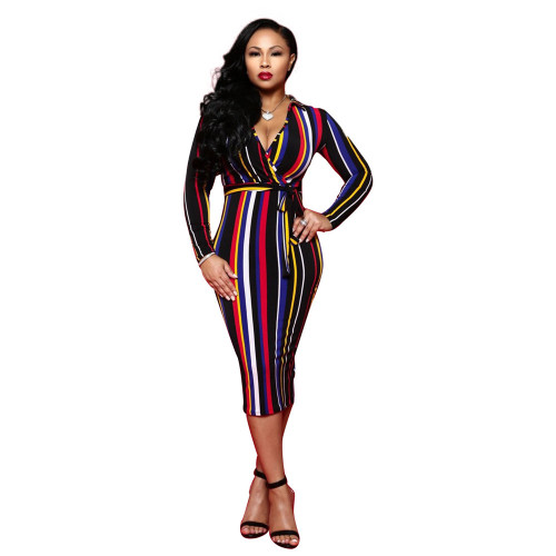 Rage Europea-American Women's Long Sleeve V-neck Color Striped Midi Dress