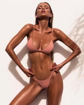 Pink Ladies split solid color swimsuit