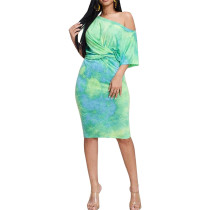 Green Fashion tie-dye drop shoulder sleeve short sleeve dress