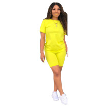 Yellow Fashion solid color short-sleeved T-shirt trousers two-piece suit