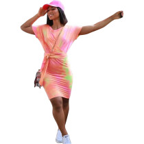 Pink Fashion tie-dye drop shoulder sleeve short sleeve dress