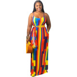 Colorful Rainbow tie-dye colorful print hanging band loose dress