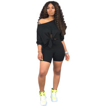 Black New Fashion Off-the-shoulder Sleeveless Navel Top Shorts Two