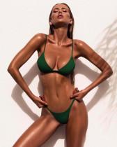 Dark green Ladies split solid color swimsuit