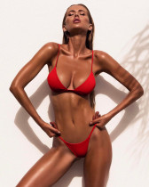 Red Ladies split solid color swimsuit