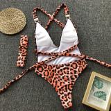 Leopard print sexy one-piece bikini