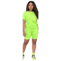 Green Fashion solid color short-sleeved T-shirt trousers two-piece suit