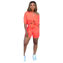 Orange New Fashion Off-the-shoulder Sleeveless Navel Top Shorts Two Piece Set