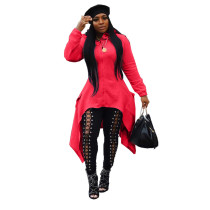Red Fashion Back Zip Hooded Jacket