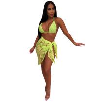 Yellow Bikini Three Piece Set