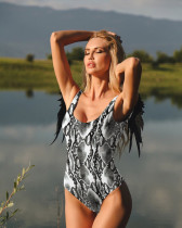 Black and white snake pattern Solid Color Angel Wings One Piece Swimsuit Bikini
