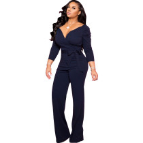 Black Fashion Long Sleeve Solid Color V-neck Lace Up Skinny Classy Jumpsuit