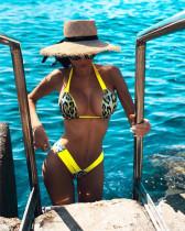 Yellow Women's bikini with leopard print