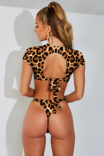 Black leopard print Bikini Half Sleeve Split Swimsuit