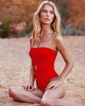 Red One Piece Swimsuit Bikini