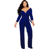 Blue Fashion Long Sleeve Solid Color V-neck Lace Up Skinny Classy Jumpsuit
