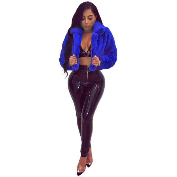 Blue Fashion Short Faux Fur Plush Coat