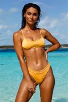 Yellow Mesh stitching bikini