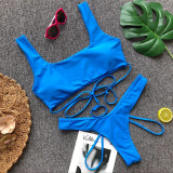 Bule Solid color sexy bandage split swimsuit