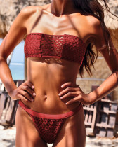 Red Bandage mesh gown swimsuit sexy beach bikini