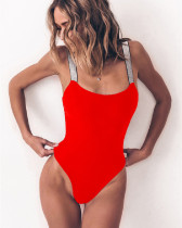 Red Solid color one-piece swimsuit