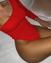 Red Sexy solid color one-piece bikini