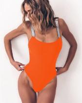 Orange Solid color one-piece swimsuit