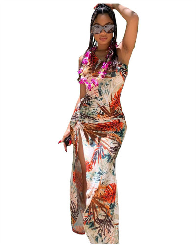 Sexy Side Split Print Long Dress