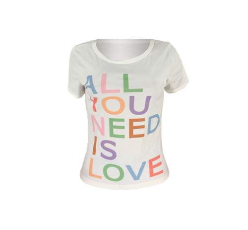 Letter positioning printed women's T-shirt