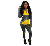 Yellow Contrast color-block hat-covered sports suit