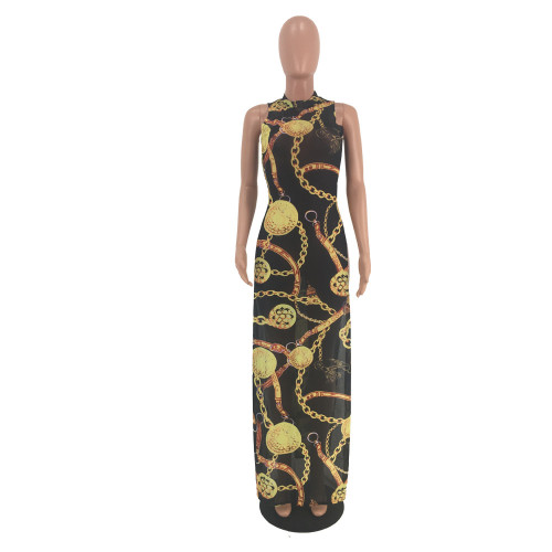 Mesh printed large gold chain high slit see-through dress