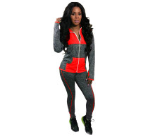 Red Contrast color-block hat-covered sports suit