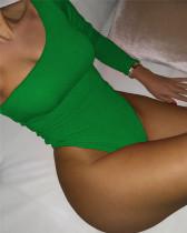 Green Sexy solid color one-piece bikini