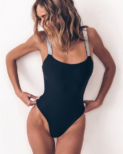 Black Solid color one-piece swimsuit