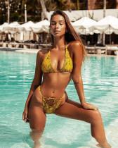 Yellow rage sexy snakeskin print split swimsuit straps bikini