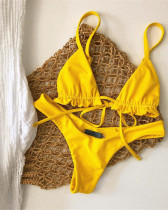 Yellow Ruffle swimwear