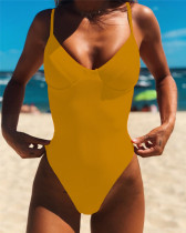 Yellow All-in-one sexy backless bikinii